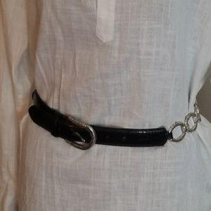 Brighton Black & Silver Leather Metal Chain Belt